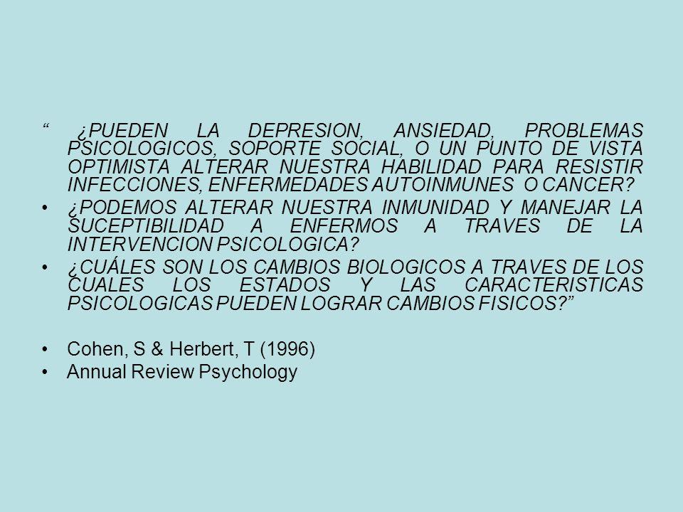 ¿PUEDEN LA DEPRESION, ANSIEDAD, PROBLEMAS PSICOLOGICOS, SOPORTE SOCIAL, O UN PUNTO DE VISTA OPTIMISTA ALTERAR NUESTRA HABILIDAD PARA RESISTIR INFECCIONES, ENFERMEDADES AUTOINMUNES O CANCER