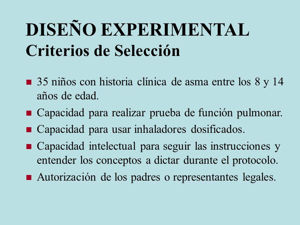 DISEÑO EXPERIMENTAL Criterios de Selección