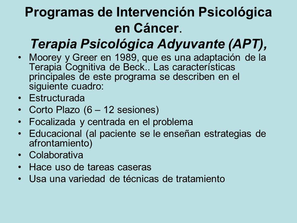Programas de Intervención Psicológica en Cáncer