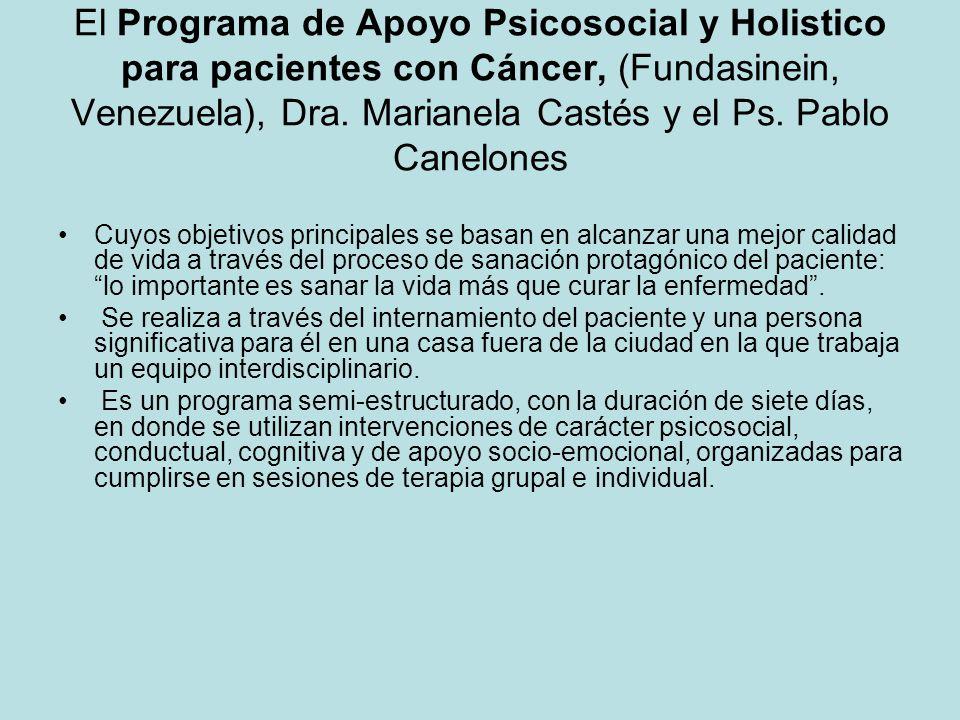 El Programa de Apoyo Psicosocial y Holistico para pacientes con Cáncer, (Fundasinein, Venezuela), Dra. Marianela Castés y el Ps. Pablo Canelones