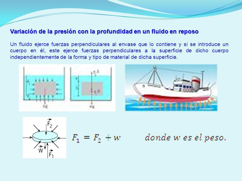 Variación de la presión con la profundidad en un fluido en reposo
