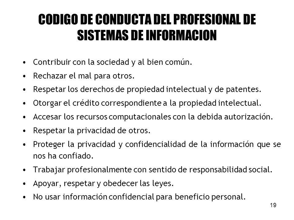 CODIGO DE CONDUCTA DEL PROFESIONAL DE SISTEMAS DE INFORMACION