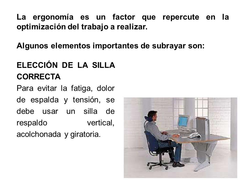 La ergonomía es un factor que repercute en la optimización del trabajo a realizar.
