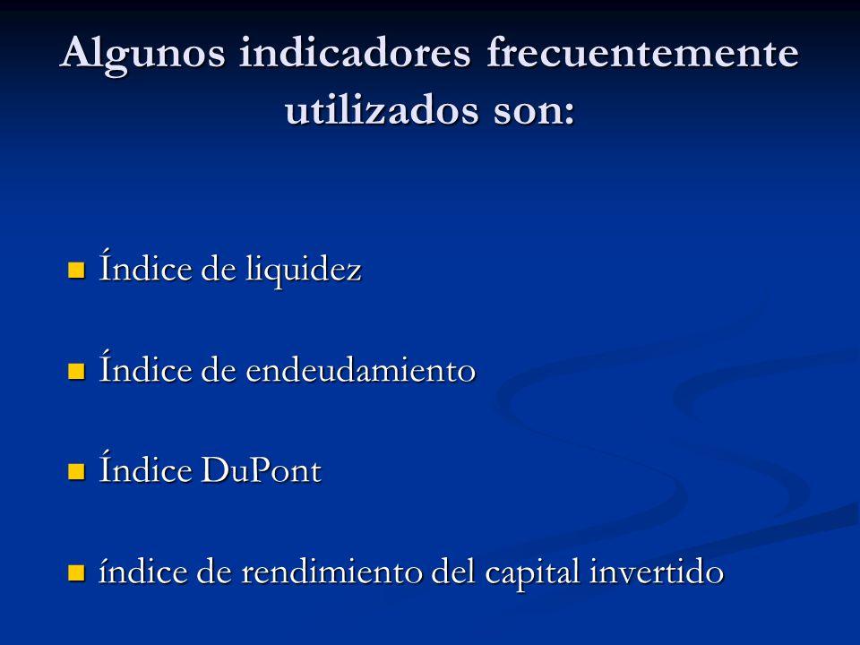 Algunos indicadores frecuentemente utilizados son: