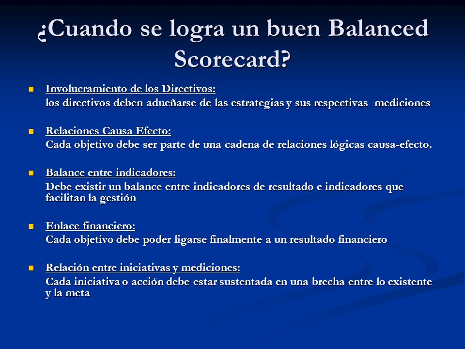 ¿Cuando se logra un buen Balanced Scorecard