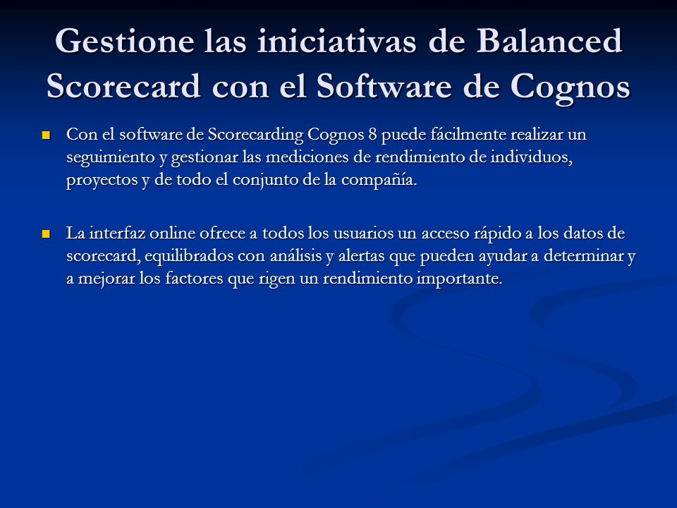 Gestione las iniciativas de Balanced Scorecard con el Software de Cognos