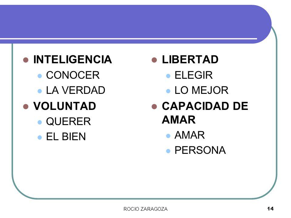 INTELIGENCIA VOLUNTAD LIBERTAD CAPACIDAD DE AMAR CONOCER LA VERDAD