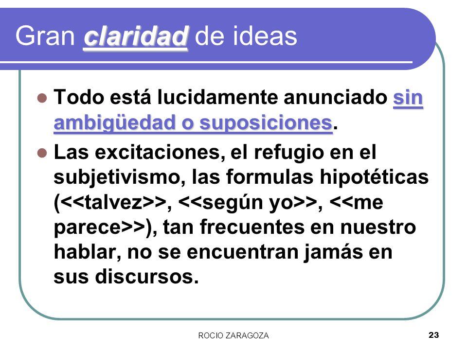 Gran claridad de ideasTodo está lucidamente anunciado sin ambigüedad o suposiciones.