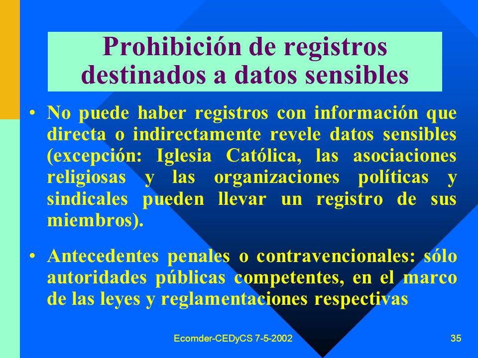Prohibición de registros destinados a datos sensibles