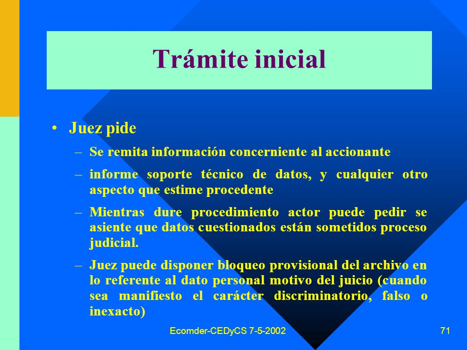 Trámite inicial Juez pide