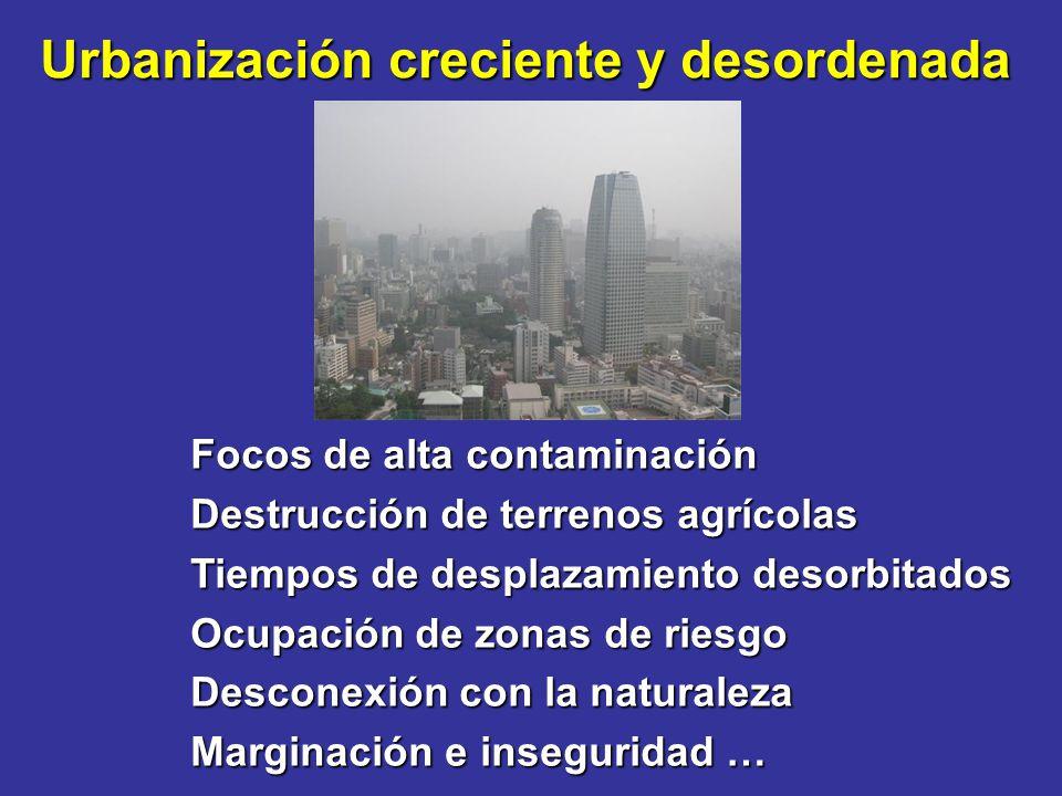 Urbanización creciente y desordenada