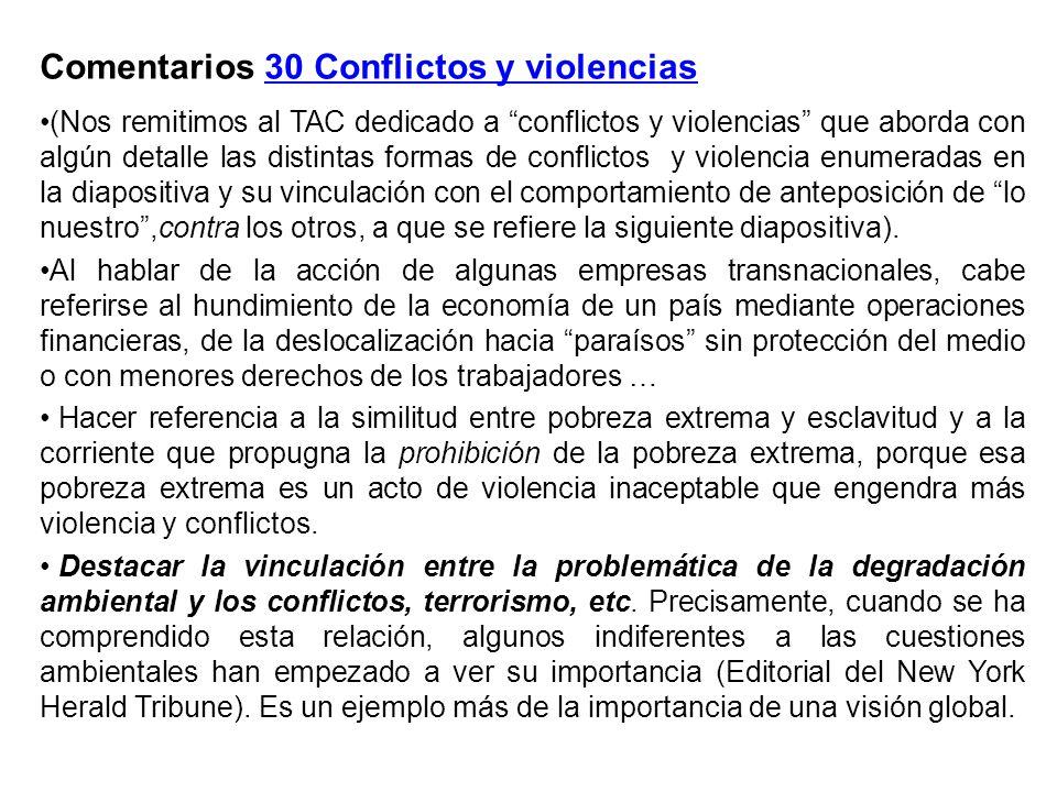Comentarios 30 Conflictos y violencias