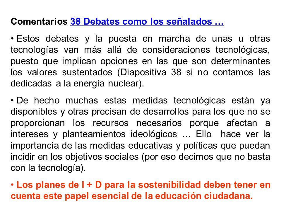 Comentarios 38 Debates como los señalados …