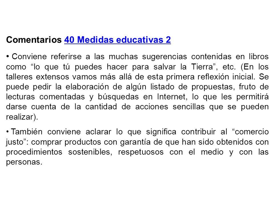 Comentarios 40 Medidas educativas 2