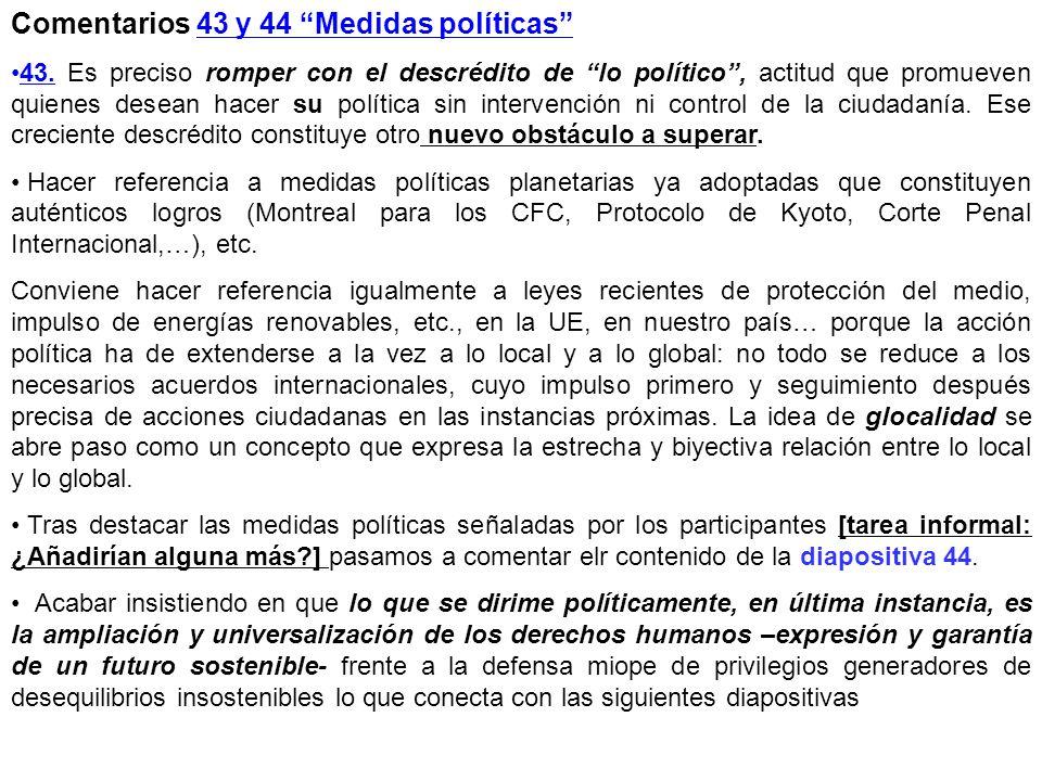 Comentarios 43 y 44 Medidas políticas