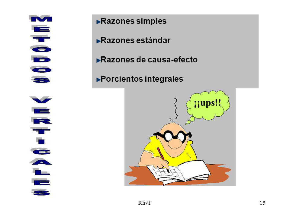 METODOS VERTICALES ¡¡ups!! Razones simples Razones estándar