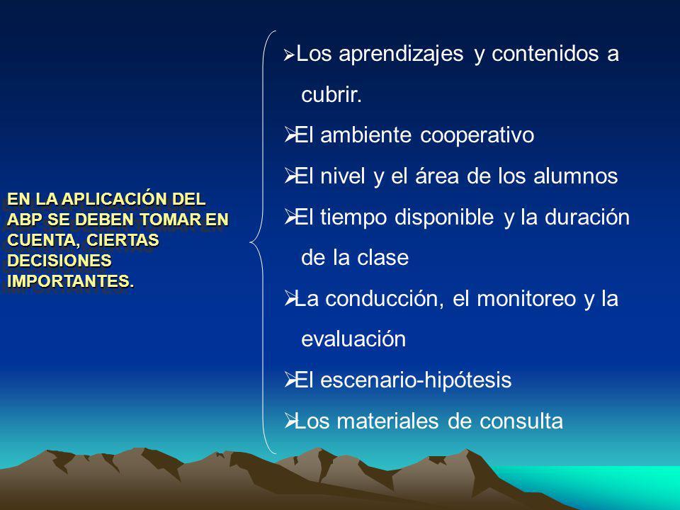 El ambiente cooperativo El nivel y el área de los alumnos