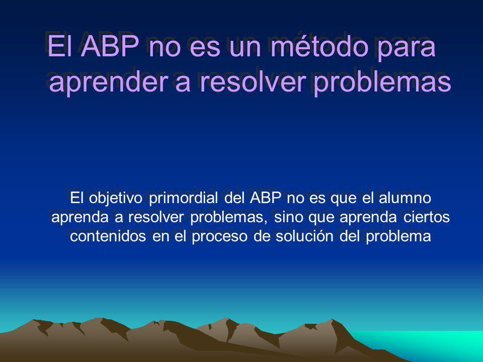El ABP no es un método para aprender a resolver problemas
