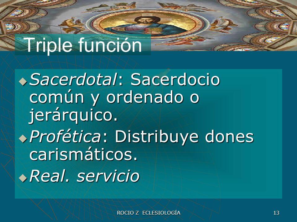 Triple función Sacerdotal: Sacerdocio común y ordenado o jerárquico.