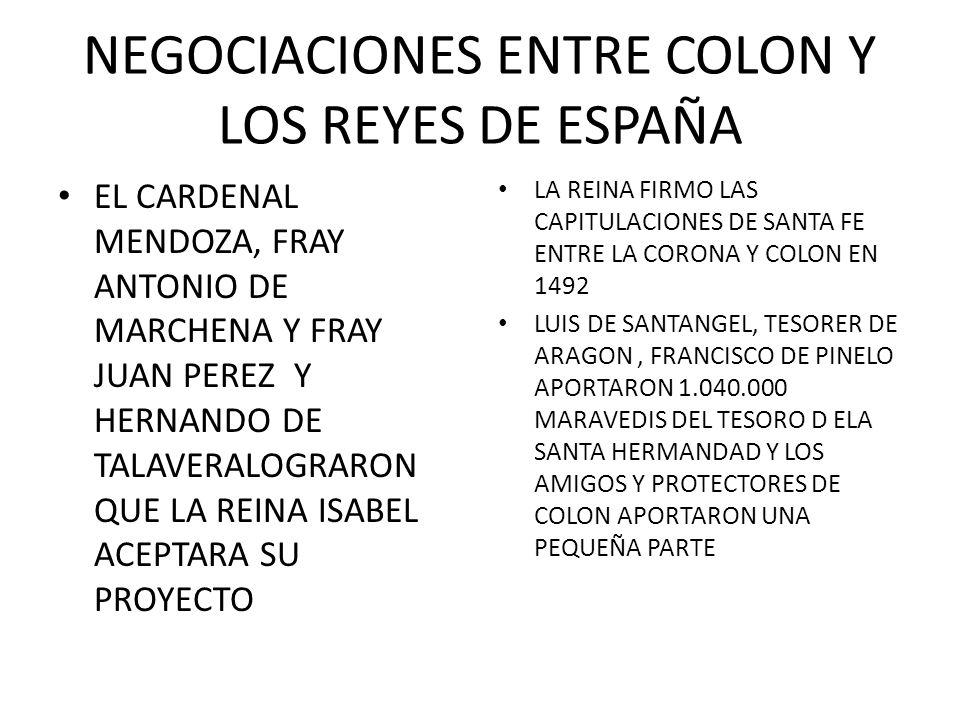 NEGOCIACIONES ENTRE COLON Y LOS REYES DE ESPAÑA