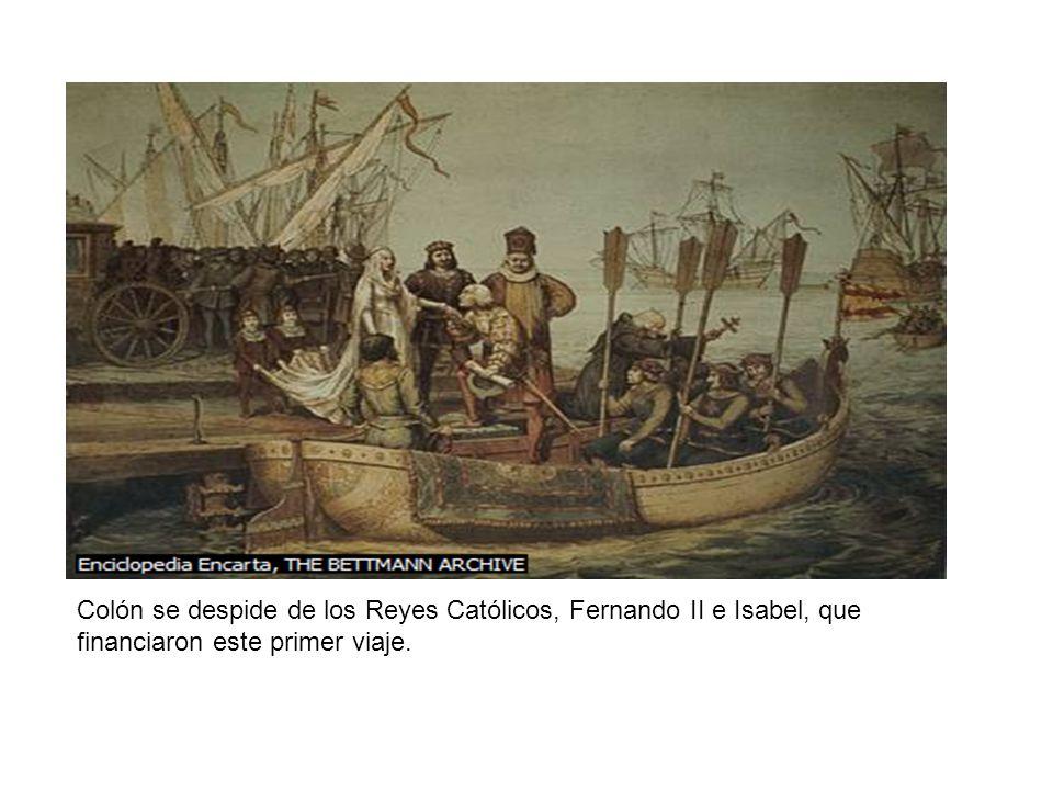 Colón se despide de los Reyes Católicos, Fernando II e Isabel, que financiaron este primer viaje.