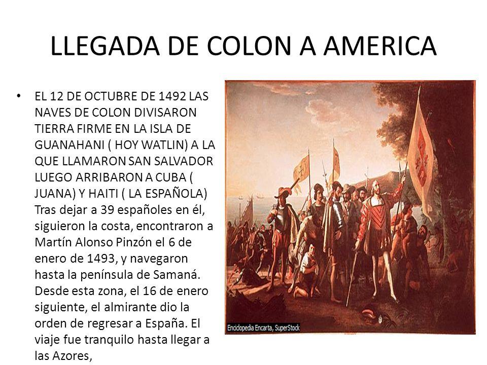 LLEGADA DE COLON A AMERICA