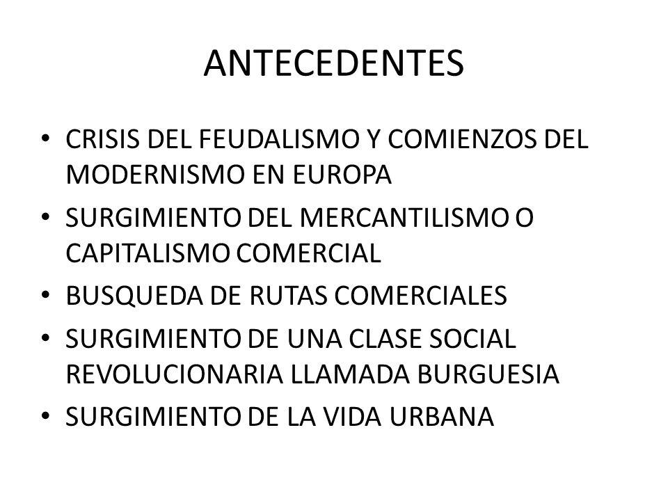 ANTECEDENTES CRISIS DEL FEUDALISMO Y COMIENZOS DEL MODERNISMO EN EUROPA. SURGIMIENTO DEL MERCANTILISMO O CAPITALISMO COMERCIAL.
