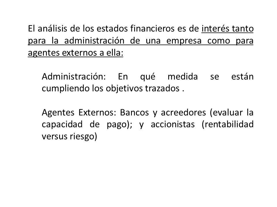 El análisis de los estados financieros es de interés tanto para la administración de una empresa como para agentes externos a ella: