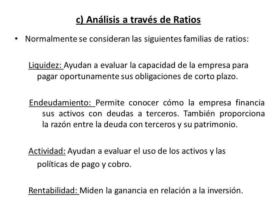 c) Análisis a través de Ratios