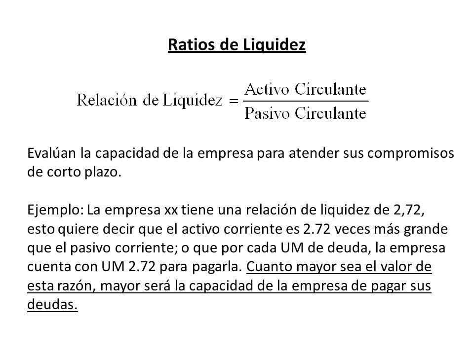Ratios de Liquidez Evalúan la capacidad de la empresa para atender sus compromisos de corto plazo.