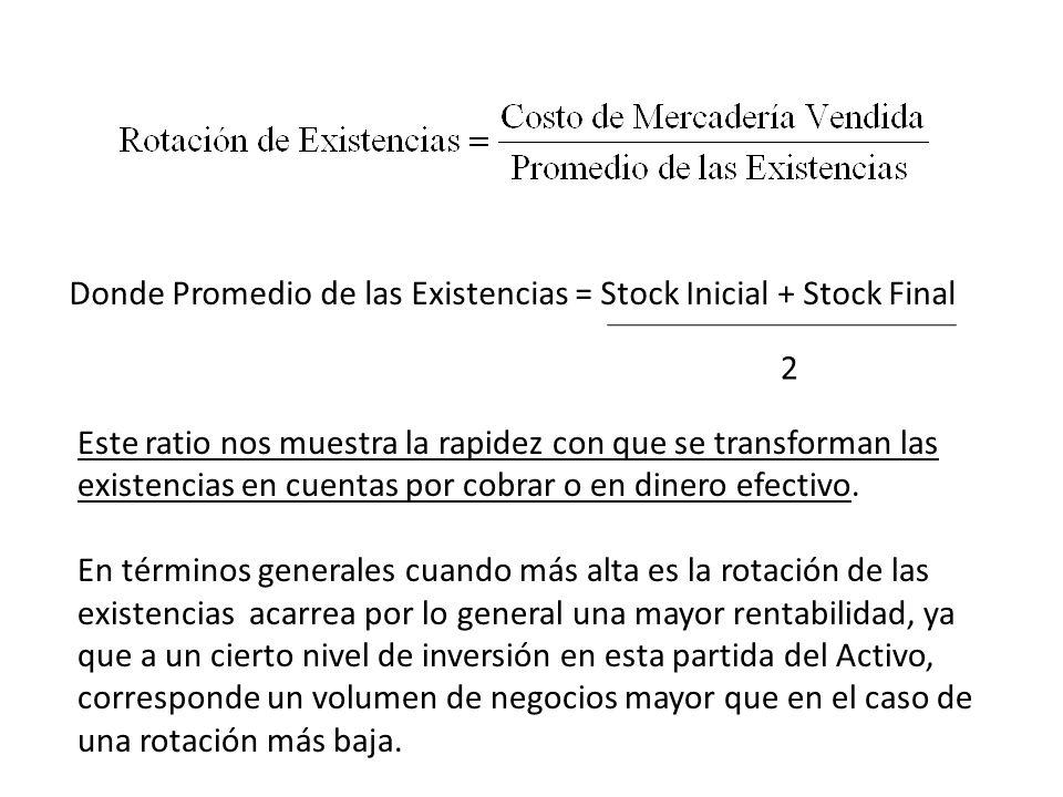 Donde Promedio de las Existencias = Stock Inicial + Stock Final