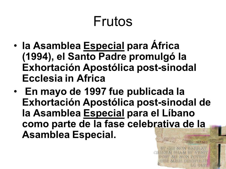 Frutos la Asamblea Especial para África (1994), el Santo Padre promulgó la Exhortación Apostólica post-sinodal Ecclesia in Africa.