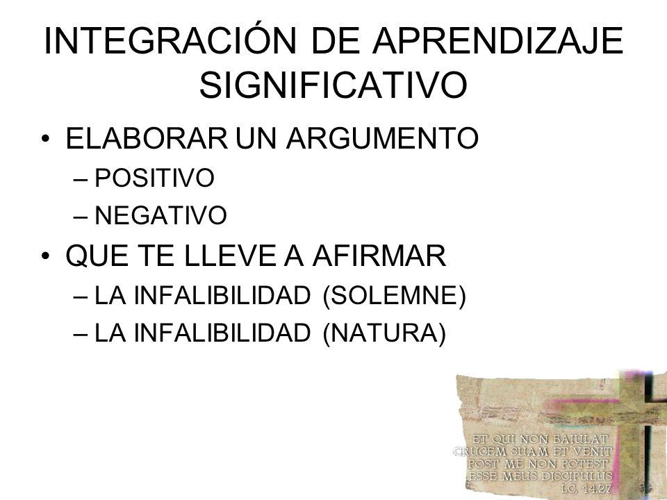 INTEGRACIÓN DE APRENDIZAJE SIGNIFICATIVO