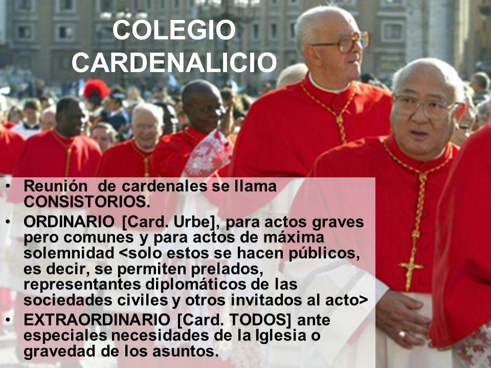 COLEGIO CARDENALICIO Reunión de cardenales se llama CONSISTORIOS.