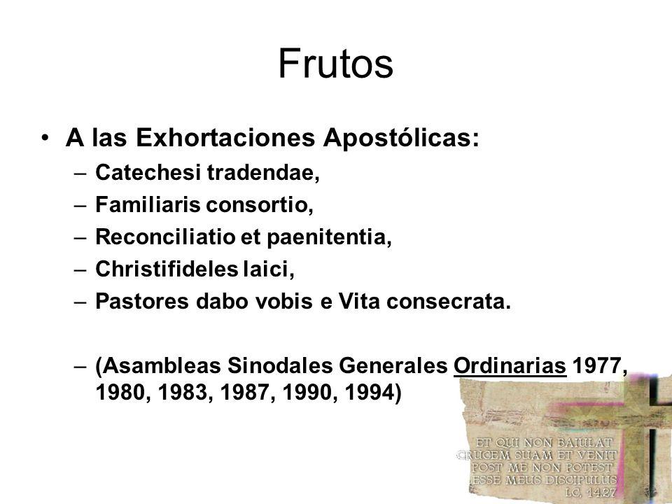 Frutos A las Exhortaciones Apostólicas: Catechesi tradendae,