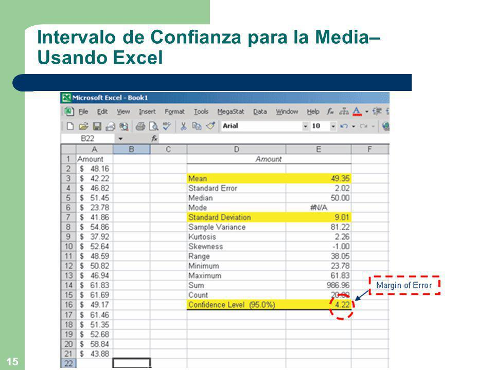 Intervalo de Confianza para la Media– Usando Excel