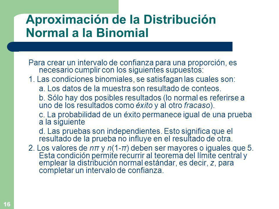 Aproximación de la Distribución Normal a la Binomial