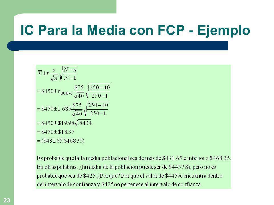 IC Para la Media con FCP - Ejemplo