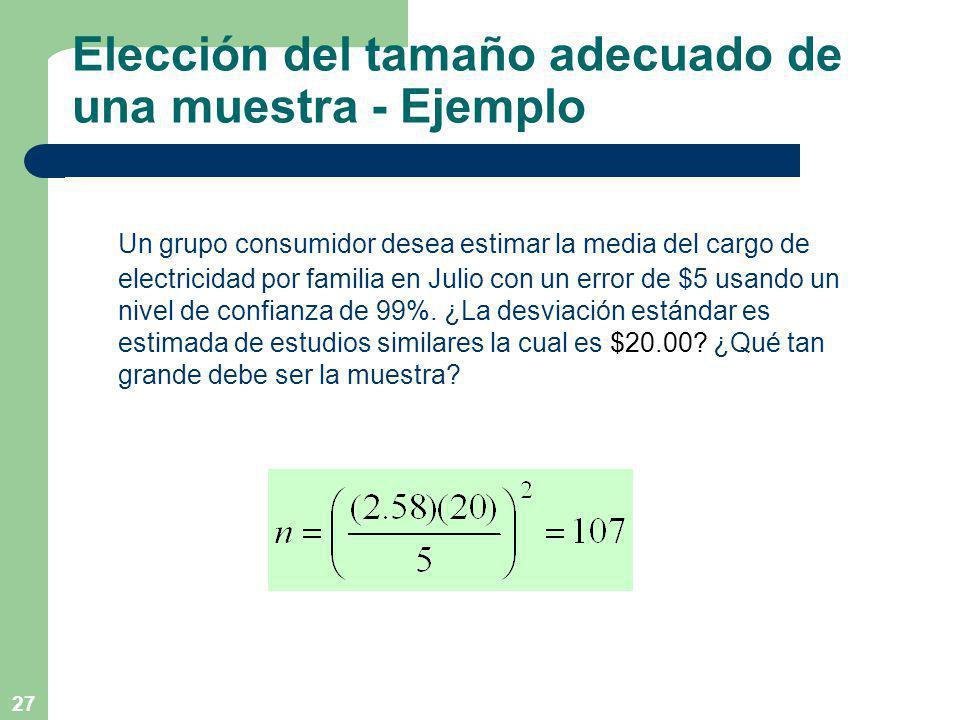 Elección del tamaño adecuado de una muestra - Ejemplo