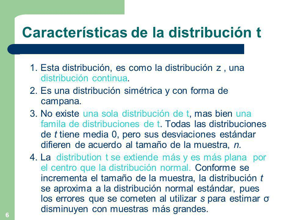 Características de la distribución t