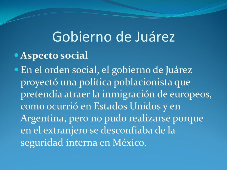 Gobierno de Juárez Aspecto social