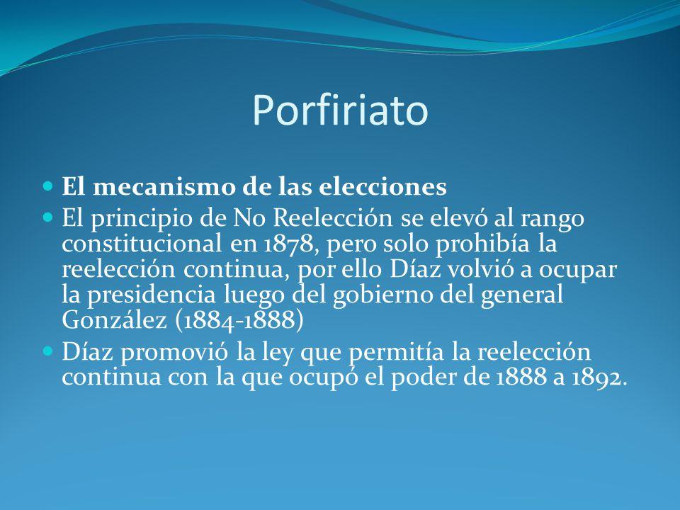 Porfiriato El mecanismo de las elecciones