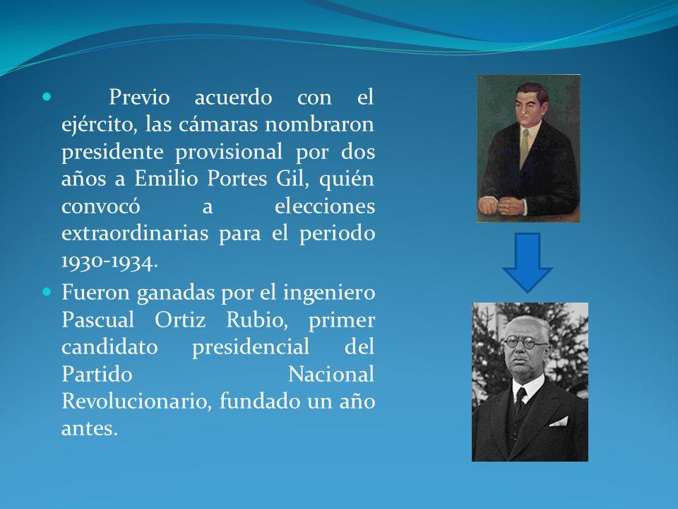 Previo acuerdo con el ejército, las cámaras nombraron presidente provisional por dos años a Emilio Portes Gil, quién convocó a elecciones extraordinarias para el periodo 1930-1934.