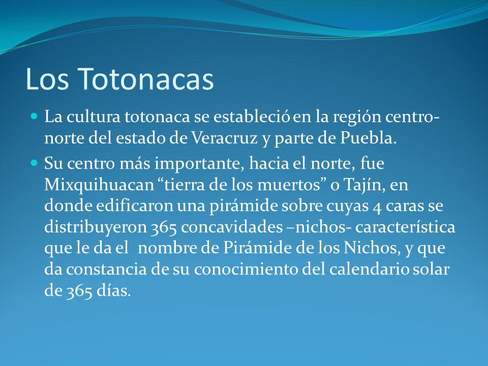 Los Totonacas La cultura totonaca se estableció en la región centro-norte del estado de Veracruz y parte de Puebla.