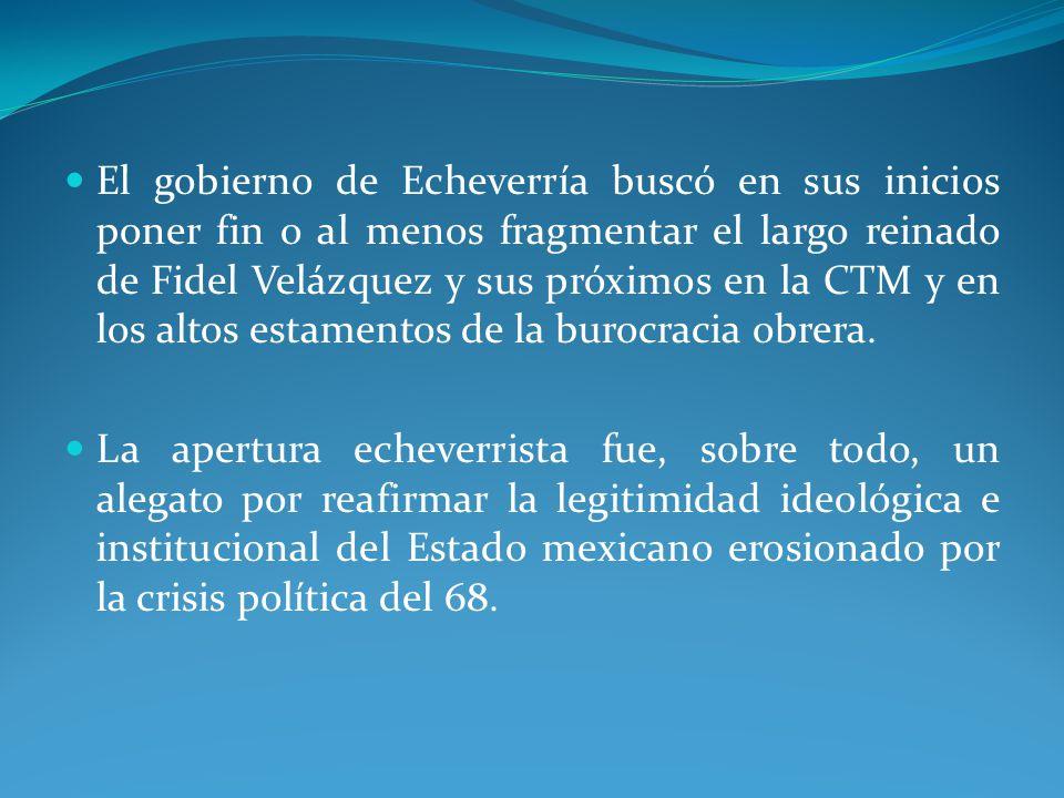 El gobierno de Echeverría buscó en sus inicios poner fin o al menos fragmentar el largo reinado de Fidel Velázquez y sus próximos en la CTM y en los altos estamentos de la burocracia obrera.