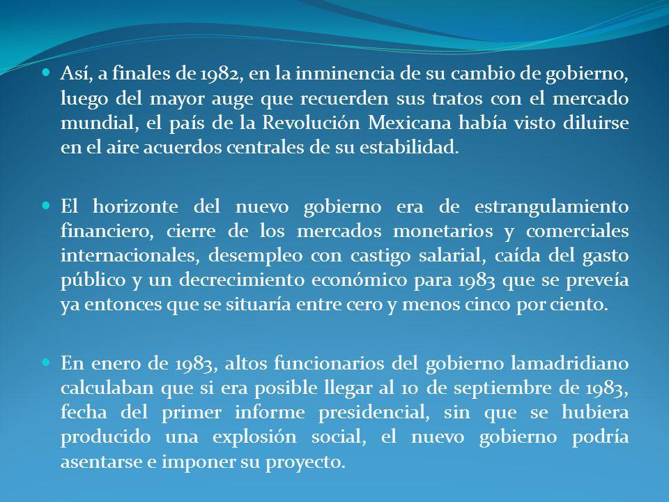 Así, a finales de 1982, en la inminencia de su cambio de gobierno, luego del mayor auge que recuerden sus tratos con el mercado mundial, el país de la Revolución Mexicana había visto diluirse en el aire acuerdos centrales de su estabilidad.