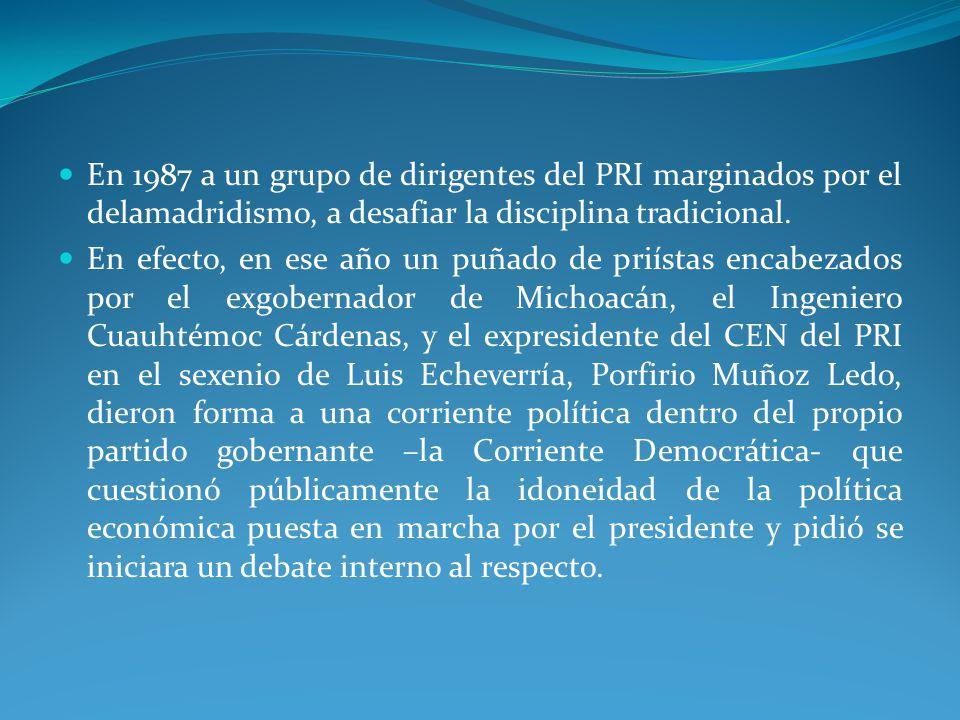 En 1987 a un grupo de dirigentes del PRI marginados por el delamadridismo, a desafiar la disciplina tradicional.