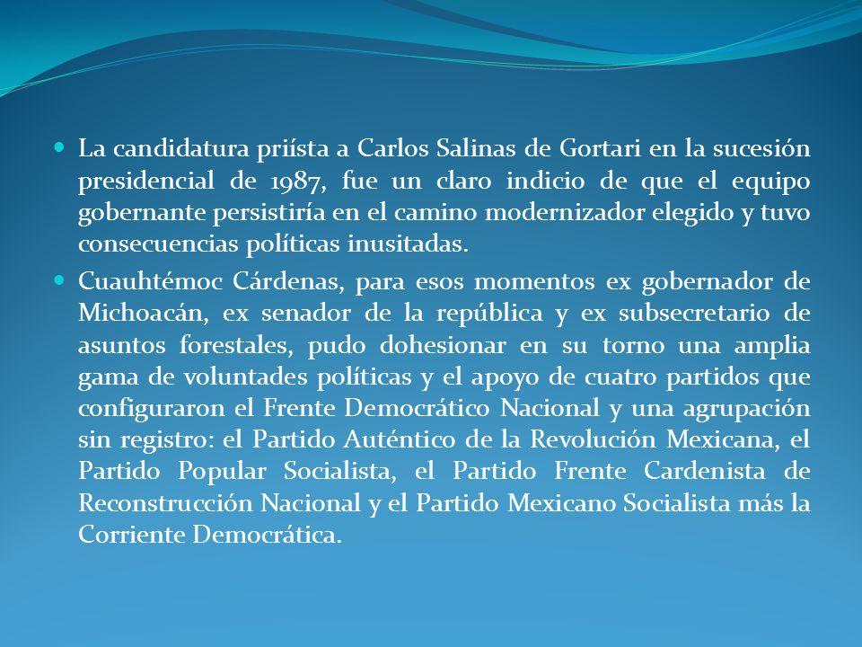 La candidatura priísta a Carlos Salinas de Gortari en la sucesión presidencial de 1987, fue un claro indicio de que el equipo gobernante persistiría en el camino modernizador elegido y tuvo consecuencias políticas inusitadas.