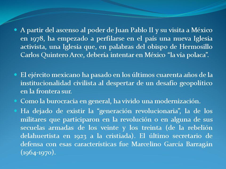 A partir del ascenso al poder de Juan Pablo II y su visita a México en 1978, ha empezado a perfilarse en el país una nueva Iglesia activista, una Iglesia que, en palabras del obispo de Hermosillo Carlos Quintero Arce, debería intentar en México la vía polaca .