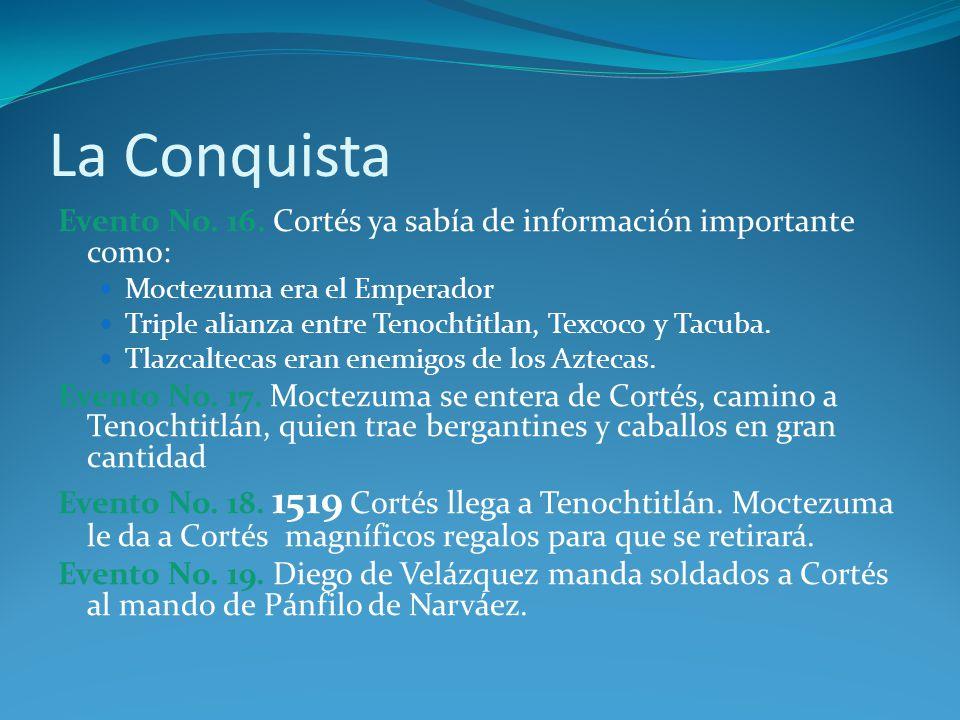La Conquista Evento No. 16. Cortés ya sabía de información importante como: Moctezuma era el Emperador.